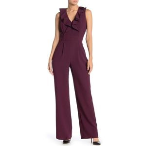 ELIZA J V NECK BURGUNDY JUMPSUIT